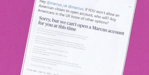 Goldman Sachs still unable to accept U.S. expats as Marcus clients in UK, citing FATCA