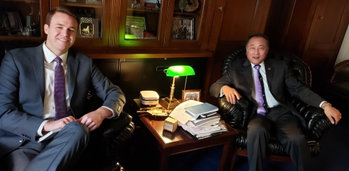 Matt Stross, legislative aide to Rep. George Holding, with Republicans Overseas chief executive Solomon Yue, in Washington