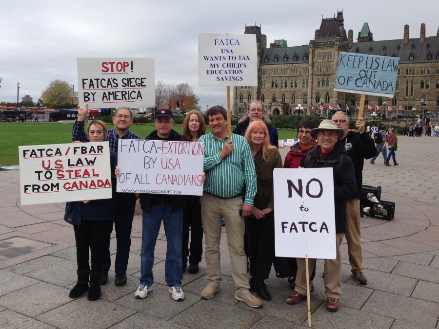An anti-FATCA protest in October, 2013 in Toronto by members of the Isaac Brock Society campaign group