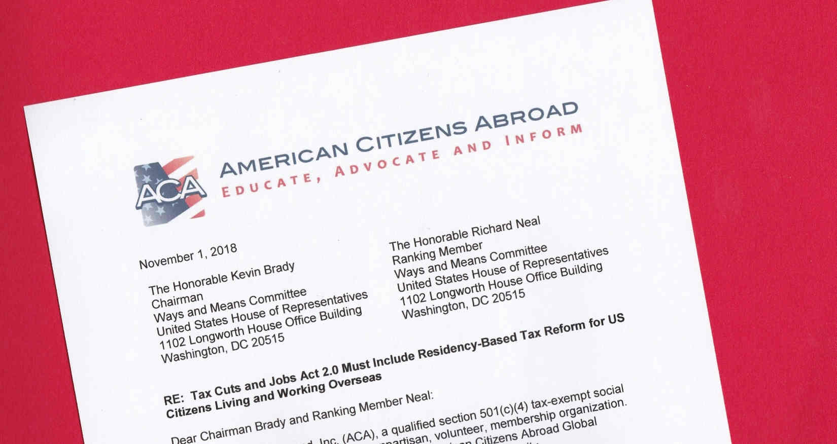 American Citizens Abroad Calls On House Committee To End Worldwide Taxation Of U S Expats