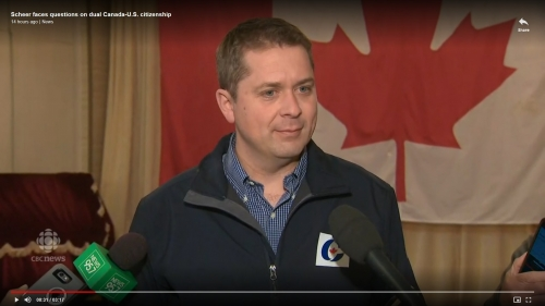Andrew Scheer at a news conference last year, at which he disclosed his dual citizenship