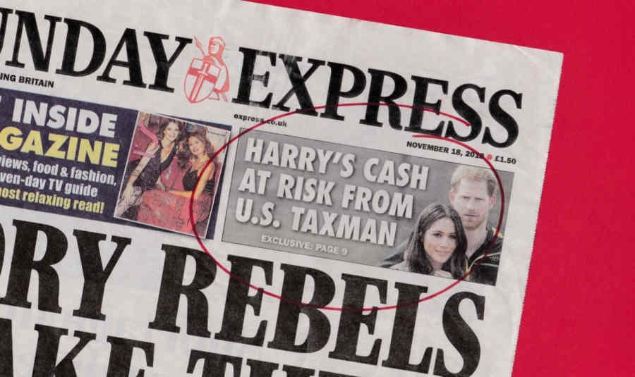 Sunday Express: 'U.S. taxman eyes up raid on Harry's fortune'